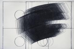Registro 3 circulos y movimiento. 2010.  Impresión de placa industrial sobre papel Hahne Müller 300 gr.  29 x 47 cm.  Edición de 8