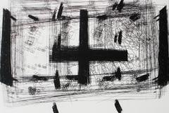 11. Registro cruz y movimiento. 2010. Impresión de placa industrial sobre papel Hahne      Müller 300 gr.  65 x 60 cm.  Edición de 12