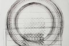 12. Registro doble circulos.  2017.  Impresión de placa industrial sobre papel HahneMüller 300 gr.  70 x 70 cm. Edición de 8