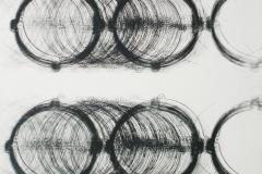egistro mediano circulos grandes 01(diptico). 2010, Impresión de placa industrial sobre papel Hahne      Müller 300 gr.  70 x 70 cm.  Edición de 08