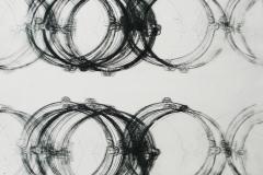14. Registro mediano circulos grandes 02(diptico). 2010, Impresión de placa industrial sobre papel Hahne      Müller 300 gr.  70 x 70 cm.  Edición de 08